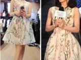 刘诗诗 明星同款连衣裙 2014夏季新款欧根纱 无袖印花连衣裙C