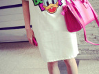 2014春夏新款韩版新款人手必备百搭卡通唐老鸭宽松中长款t恤