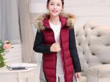 韩版2015冬装新款棉外套拼接羽绒棉服中长款女式棉衣保暖女士棉袄