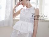 2014希望之吻新款欧洲站时尚大牌简约荷叶边女连衣裙 上身效果好