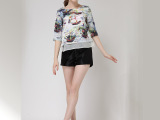 欧美女装春夏新款印象派印花小船五分袖上衣+短裤两件套套装