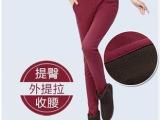 冬季新款 潮韩版大码显瘦加绒加厚保暖打底裤 女外穿裤铅笔裤批发