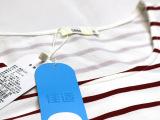 秋季女式中长款套头条纹女装上衣 100%欧洲纯棉圆领七分袖T恤
