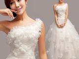 韩版单肩公主新娘蕾丝拖尾婚纱礼服 2015孕妇齐地婚纱