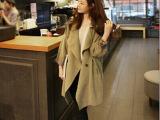 2015韩国代购 春款外套新款宽松大码中长款休闲大翻领风衣女