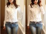 韩版宫廷长袖气质立领蕾丝荷叶边女衬衫 衬衣