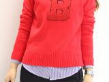 秋装新款 韩国继承者郑秀晶崔雪莉同款针织衫 字母B套头红色毛衣