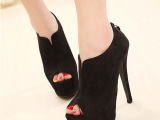 女鞋批发 韩版女鞋时尚小V型开口绒面高跟单鞋双层防水台鱼嘴鞋