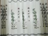 中式印花窗帘布新房卧室客厅书房古典中式田园窗帘窗户帘梅兰竹菊