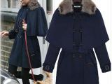 欧美外套2013冬季新款时尚御寒毛领斗篷式呢子大衣 毛呢外套TA