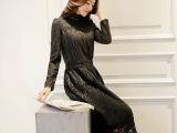 2014冬女装包臀裙 加长款呢料蕾丝拼接连衣裙 加厚长袖打底裙冬