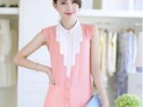 2014夏季新款韩版短袖雪纺上衣+百搭中腰显瘦白色短裤套装