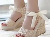 夏季罗马坡跟凉鞋 女鞋子松糕厚底鞋蕾丝带蝴蝶结平底鱼嘴高跟鞋