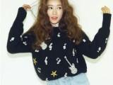韩国众多明星秀超手工重工串珠刺绣水钻羊绒兔毛毛衣加厚针织衫