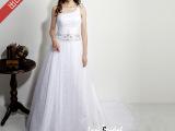 2014新款出口单肩白色婚纱 新娘韩版复古时尚婚纱礼服 厂家直销