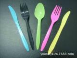 大量供应彩色一次性刀叉勺 生日宴会一次性餐具 西式刀叉勺餐具