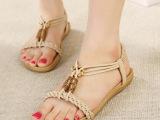 2014夏季新款 波西米亚民族风藤草编织百搭平底低跟凉鞋 女鞋