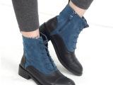 欧美前系带马丁靴子 帅气个性拼色短靴 新款粗跟圆头女靴