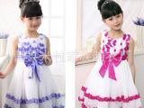 新款六一儿童公主裙女童青花瓷蓬蓬裙纱裙演出服蝴蝶结套装表演服