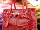 欧美包包2014新款潮女手提包鳄鱼纹真皮女包红色新娘包牛皮铂金包