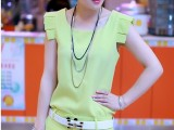 欧洲站 夏季女装 韩版 休闲套装 短袖短裤 小香风套装 配腰带