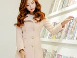 厂家批发2014秋冬新款 韩版修身双排扣毛呢外套 中长款呢子大衣