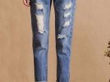 工厂订单库存时尚牛仔裤批发韩版宽松女式牛仔裤批发