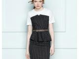 2015新款时尚职业装女 夏装套裙 短袖条纹衬衫套装 ol工作服