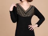 新款加绒加厚打底保暖内衣 时尚V领加绒加厚打底衣女 厂家直销