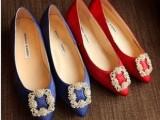女主脚3 欧洲站新款 女鞋平跟尖头 钻石扣 平底女式单鞋 真皮女