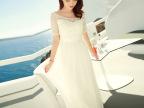2015白色蕾丝雪纺连衣裙波西米亚长裙显瘦度假沙滩长裙仙女裙
