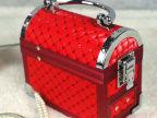 红色铝材手提多层自动抽屉带镜首饰盒 珠宝盒 喜庆用品 收纳盒