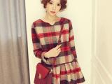 花毛呢连衣裙 修身甜美秋冬连衣裙 清新连衣裙冬款 甜美长袖毛呢