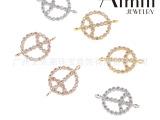 欧美外贸新款925纯银微镶和平标志手链饰品配件 三色可选