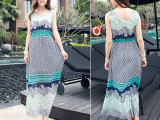 2015夏季无袖印花雪纺连衣裙波西米亚裙度假沙滩裙高腰长裙