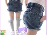 2014春夏装 女童装 童裤 韩版 翻边 儿童 牛仔 短裤 热裤