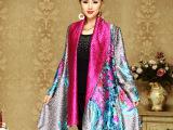 伊曼丝绸服饰中老年装真丝褶皱印花两面穿富态气质披风披肩外套批