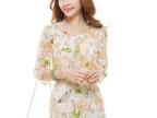 夏季新款韩版女装 休闲荷叶边中袖印花雪纺连衣裙 广州批发