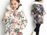 童装冬款女童加厚可脱卸帽棉袄女童棉服牡丹花棉衣儿童羽绒棉外套