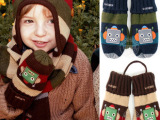 韩版新款 刺绣机器人加绒儿童手套 男女童宝宝冬季保暖针织手套