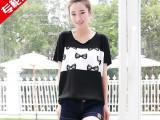 2014夏装新款 黑白色蝴蝶结印花蝙蝠宽松大码T恤衫mt3081