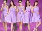 代理批发短款小礼服 一件代发洋裙女 伴娘裙姐妹裙紫色伴娘团服