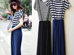 厂家直销 夏季新品莫代尔 条纹撞色连衣裙假两件裙子背带连衣裙女