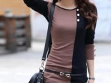 2013新款大码女装打底衫中长款单排扣拼