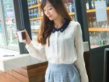 长袖方领雪纺百搭上衣 女  布着屋2014衬衫韩版秋季女装批发