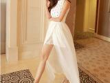 实拍新款立领亮片无袖高腰开叉白色时尚雪纺连衣裙长裙女