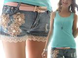 批发代理 2014夏季新款女装蕾丝花朵 韩版牛仔短裤女 送腰带A