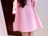 韩版2014春装新款娃娃款 露肩 黑色亮片花朵A字孕妇裙批发