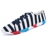 男鞋2015新款 韩国潮男透气帆布鞋 时尚经典款条纹帆布鞋男 直