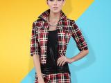 欧美休闲套装女2014秋装新款欧洲站修身中袖格子套装